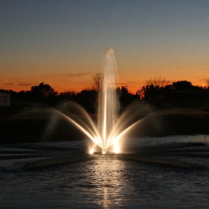 evening fountain view