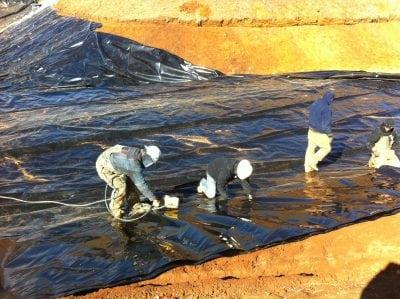 pond liner installation